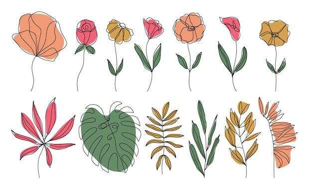 Zestaw doodle ręcznie rysowane elementy kwiatowe z kolorami kształtów