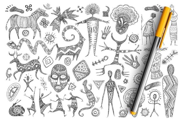 Zestaw doodle starożytnych symboli afrykańskich. kolekcja ręcznie rysowanych masek, tańczących ludzi, zwierząt, gadów, świętych symboli, bogów i znaków na białym tle.