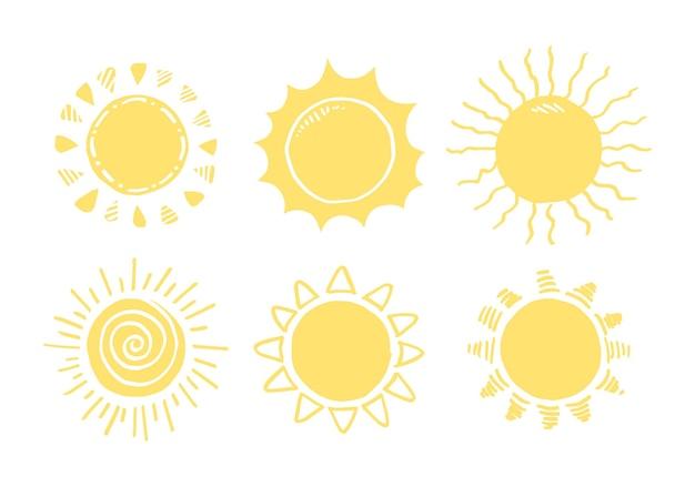 Zestaw doodle sun.design elementów. ilustracji wektorowych.