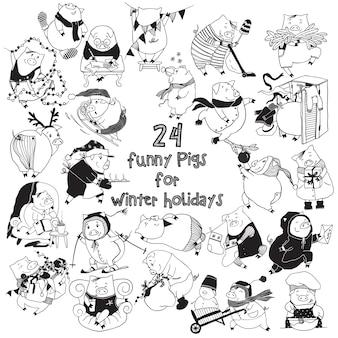 Zestaw doodle świnie na ferie zimowe