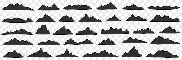 Zestaw doodle sylwetki pasmo górskie