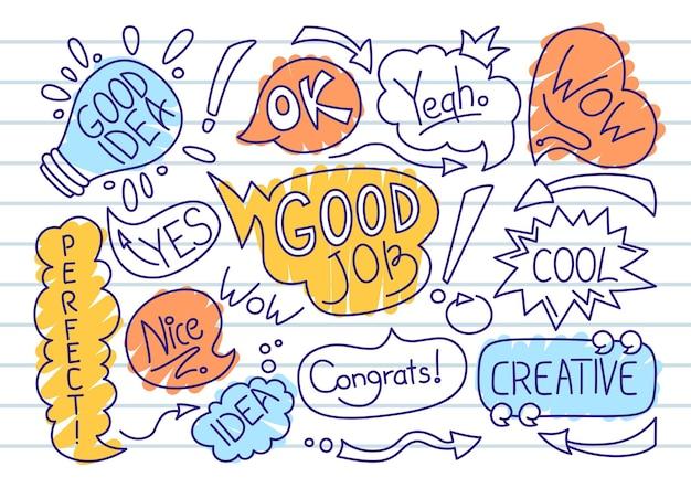 Zestaw doodle szkic bańka mowy