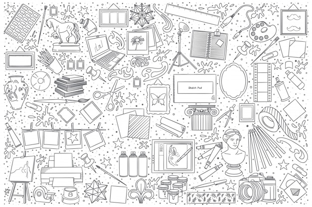 Zestaw doodle sztuki