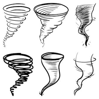 Zestaw doodle tornado na białym tle. huragan. zestaw elementów projektu wyciągnąć rękę. ilustracji wektorowych.