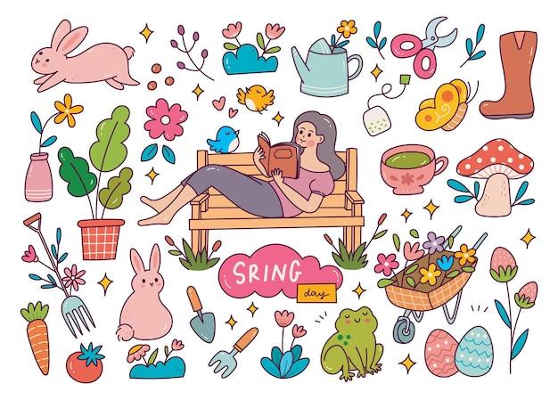 Zestaw doodle wiosna.