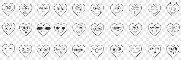 Zestaw doodle wyrazów twarzy serca