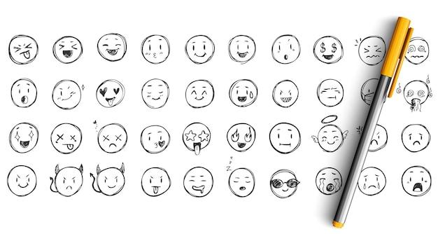 Zestaw doodle wyrazów twarzy. zbiór szkiców ręcznie rysowane tuszem ołówkiem. śmieszne emotikony szczęśliwych i zdenerwowanych twarzy.