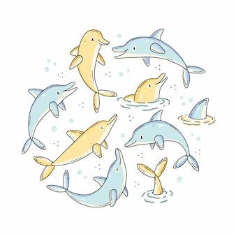 Zestaw doodle z uroczymi postaciami delfinów w kształcie koła ilustracja w pastelowych kolorach