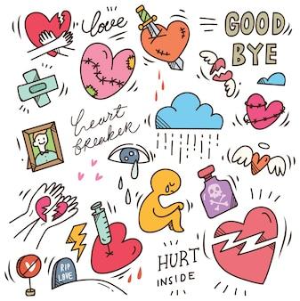 Zestaw doodle złamane serce
