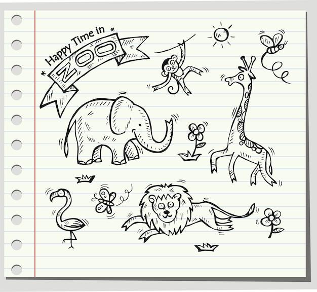 Zestaw doodle zwierząt