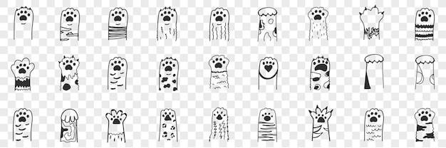 Zestaw doodle zwierzęcych łap. kolekcja ręcznie rysowane śmieszne słodkie zwierzę łapy z pazurami.