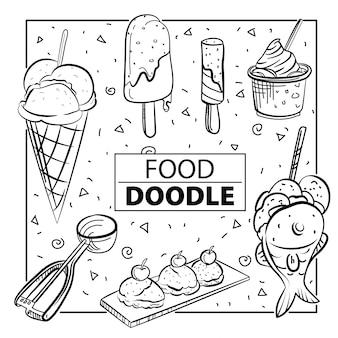 Zestaw doodle żywności. czarny i biały. odręcznie