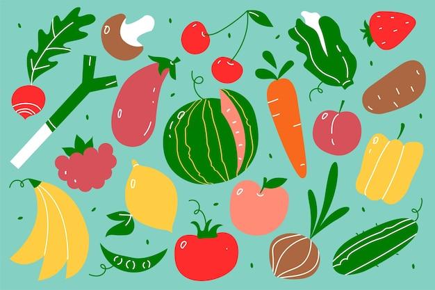 Zestaw doodle żywności wegetariańskiej. ręcznie rysowane wzory owoce i jagody warzywa wegańskie odżywianie lub menu posiłek arbuz mango banan i truskawka. ilustracja produktów soków tropikalnych.