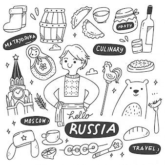 Zestaw doodles kultury rosyjskiej