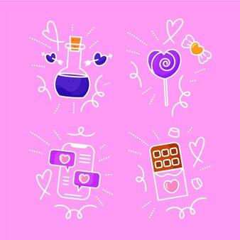 Zestaw doodles miłości wyciągnąć rękę
