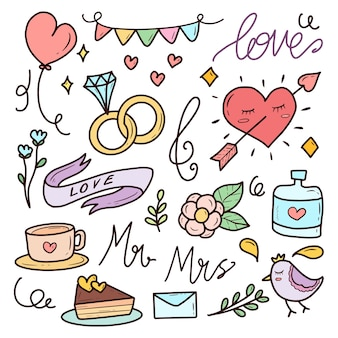 Zestaw doodles romantyczny ślub