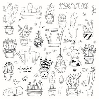 Zestaw doodles roślin domowych w doniczkach. śliczne kaktusy i sukulenty w czarno-białej podszewce w różnych kształtach i rozmiarach.