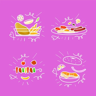 Zestaw doodles żywności wyciągnąć rękę
