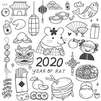 Zestaw doodli chiński nowy rok