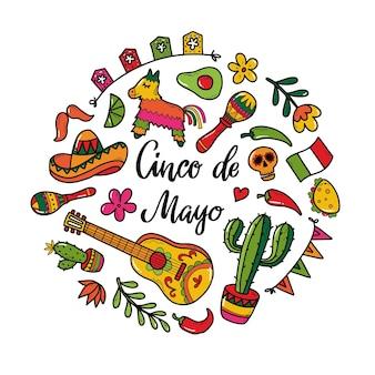 Zestaw doodli dla cinco de mayo