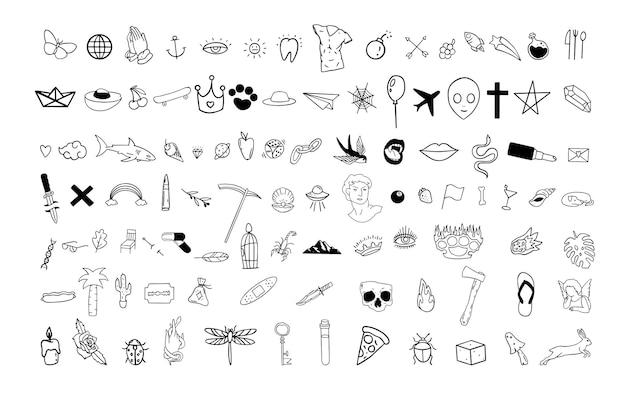 Zestaw doodli popkultury