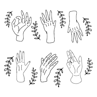 Zestaw doodling gest ręki