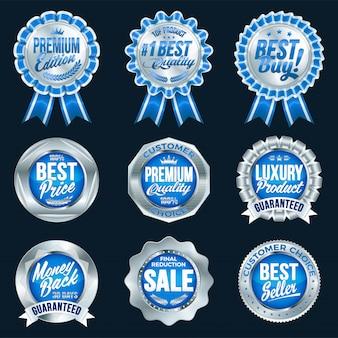 Zestaw doskonałej jakości niebieskich odznak ze srebrną obwódką.