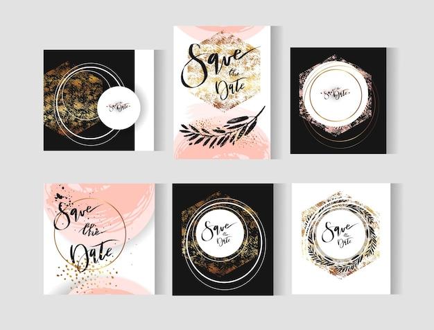Zestaw doskonałych kart ślubnych abstrakcyjnych szablonów w kolorach złotym, pastelowym, czarnym i białym.