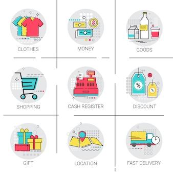 Zestaw dostawy rabat sprzedaż pieniądze ikona kolekcja płatności
