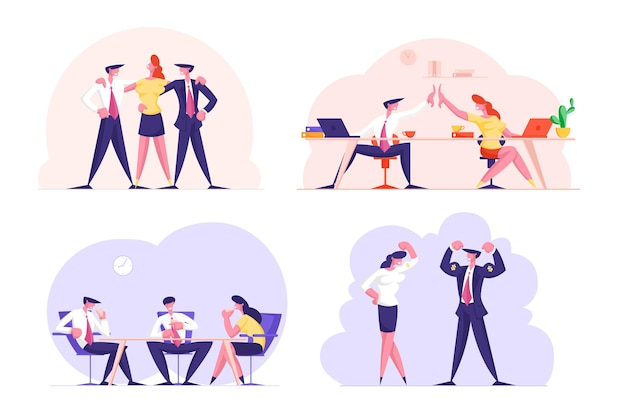 Zestaw dream teampeople na białym tle. pracownicy biurowi