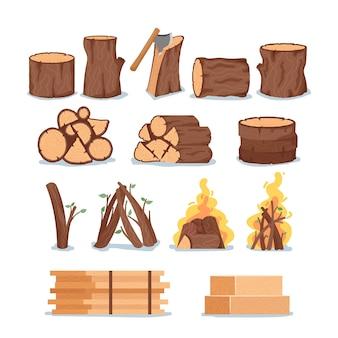 Zestaw drewna opałowego, drewniane kłody drzew, okrągłe plastry, płonący ogień, widziałem pnie drzew cięte na białym tle. elementy projektu, okrągłe kawałki dziennika, wyprodukowane deski. ilustracja kreskówka wektor