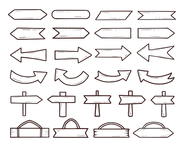 Zestaw drewna znak i strzałka rysunek kontur kreskówka