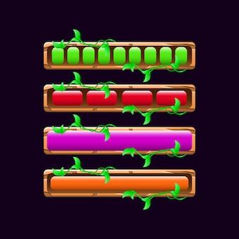 Zestaw drewnianego paska ładowania interfejsu gry natury w różnych kolorach i stylach dla elementów zasobów gui