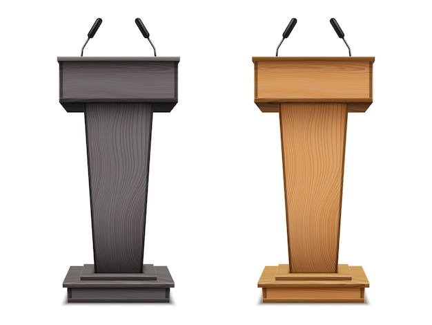 Zestaw drewnianego podium lub trybuny przemówienia, czarnego statywu debatowego lub ambony z mikrofonem. realistyczna platforma z mikrofonem.
