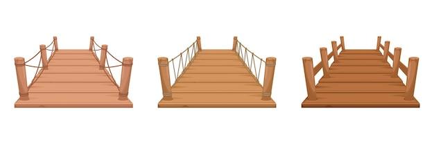 Zestaw drewniany most na białym tle