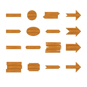 Zestaw drewniany znak i ikona strzałki na białym tle