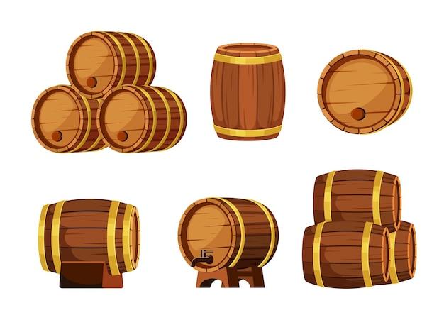 Zestaw drewnianych beczek