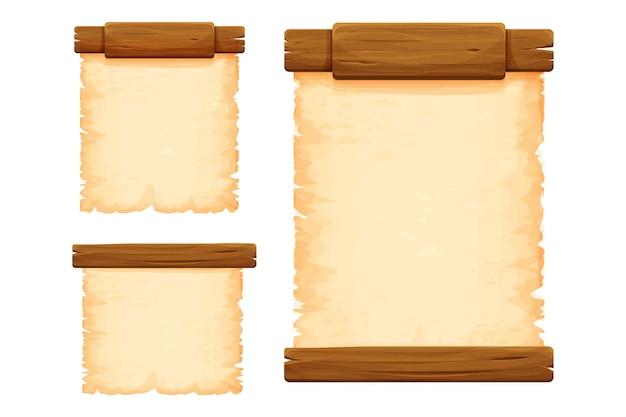 Zestaw drewnianych desek z pergaminem w stylu kreskówka na białym tle