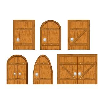 Zestaw drewnianych drzwi