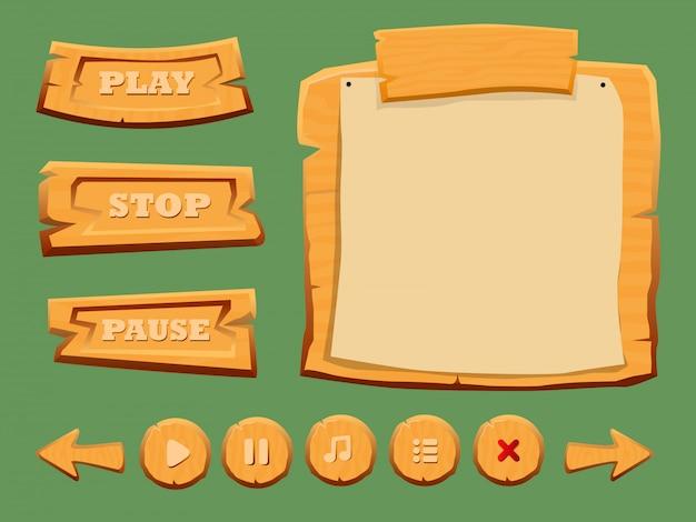 Zestaw drewnianych elementów interfejsu gry