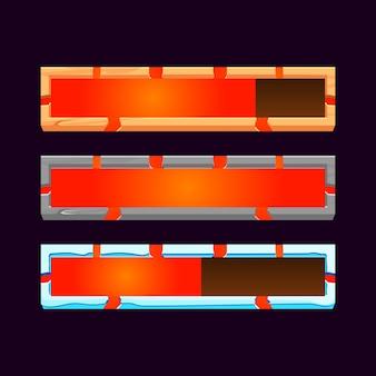 Zestaw drewnianych, kamiennych i lodowych elementów gui z paskiem ładowania postępu lawy dla elementów zasobów interfejsu gry