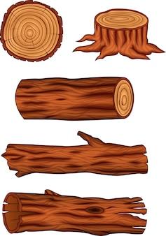 Zestaw drewnianych kłód