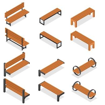 Zestaw drewnianych ławek do parku. styl izometryczny. miejsce na odpoczynek i czekanie. element dekoracyjny miasta. ławka dla ludzi. ilustracja wektorowa.