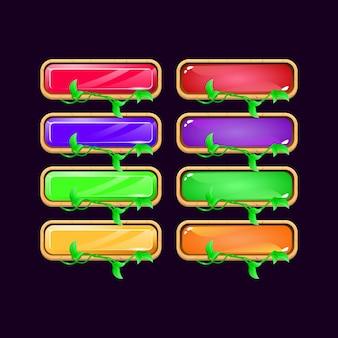 Zestaw drewnianych liści diamentowych i galaretkowych kolorowych przycisków interfejsu gry dla elementów aktywów gui