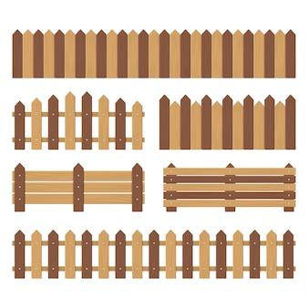 Zestaw drewnianych ogrodzeń