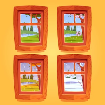 Zestaw drewnianych okien z kreskówek