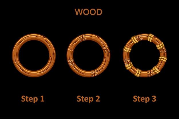 Zestaw drewnianych okrągłych ramek