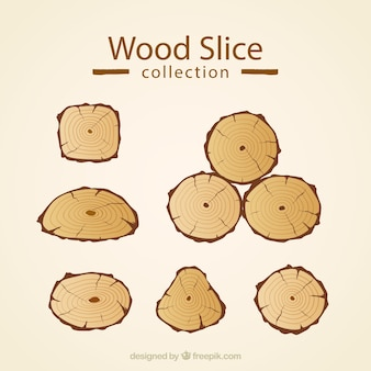 Zestaw drewnianych plastrów