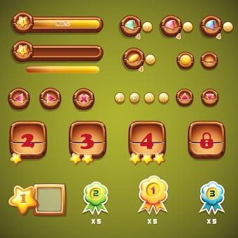 Zestaw drewnianych przycisków, pasków postępu i innych elementów do projektowania stron internetowych i interfejsu użytkownika gier komputerowych