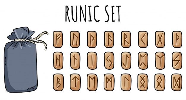Zestaw drewnianych run i bawełnianej torebki. kolekcja ręcznie rysowane gryzmoły rzeźbione symbole runiczne na drewnie. ilustracja glifów celtyckich